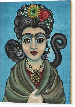 Frida's Monkey Wood Print by Victoria De Almeida