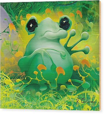 Friendly Frog Wood Print by Robert Conway