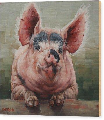 Friendly Pig Wood Print
