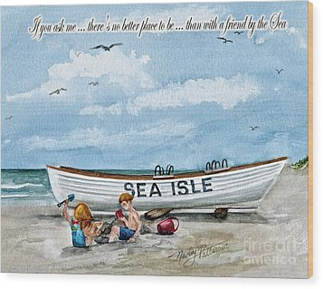 Friends By The Sea  Wood Print