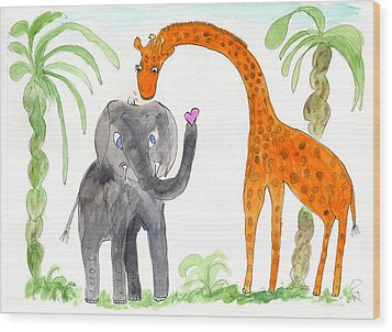 Friends - Elephoot And Elliot Wood Print