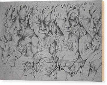 Friends Wood Print by Moshfegh Rakhsha