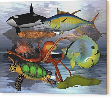 Friends Of The Sea Wood Print by Betsy Knapp