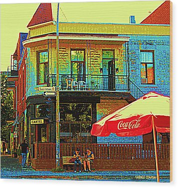 Friends On The Bench At Cartel Street Food Mexican Restaurant Rue Clark Art Of Montreal City Scene Wood Print by Carole Spandau