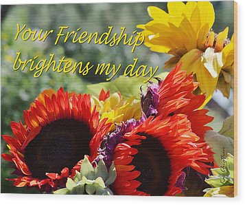 Friendship Flowers Wood Print