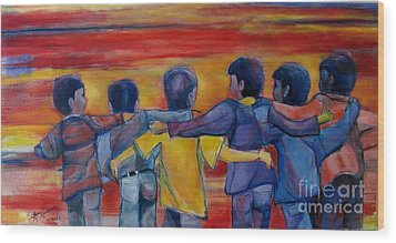 Friendship Walk - Children Wood Print