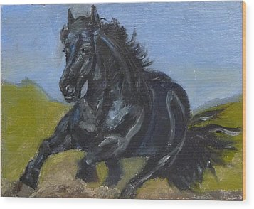 Wood Print featuring the painting Friesian by Jessmyne Stephenson