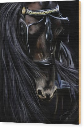 Friesian Spirit Wood Print by Michelle Wrighton
