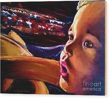 Wood Print featuring the painting Fright Of Dumbo by D Renee Wilson
