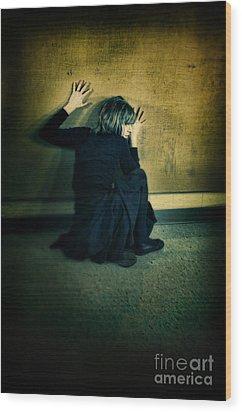 Frightened Woman Wood Print by Jill Battaglia