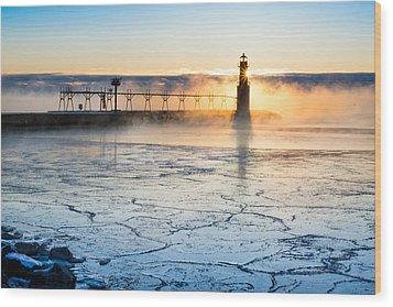 Frigid Sunrise Fog  Wood Print