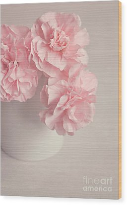 Frilly Pink Carnations Wood Print