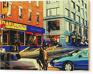 Friperie St.laurent Clothing Variety Dress Shop Downtown Corner Store City Scene Montreal Art Wood Print by Carole Spandau