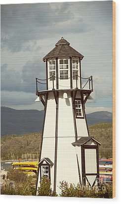 Frisco Bay Marina Lighthouse Wood Print by Juli Scalzi