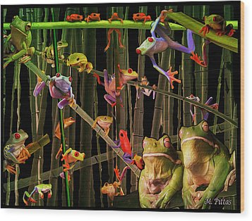 Frog Bog Wood Print