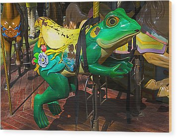 Frog Carrousel Ride Wood Print by Garry Gay