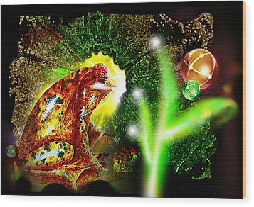 Wood Print featuring the mixed media Frog Dreaming by Hartmut Jager