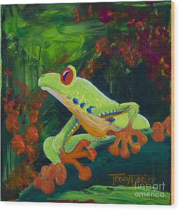 Frog Heaven Wood Print by Tracy L Teeter