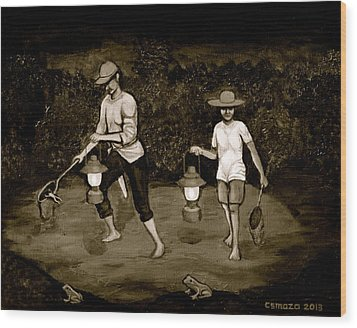 Frog Hunters Black And White Photograph Version Wood Print