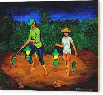 Frog Hunters Wood Print by Cyril Maza