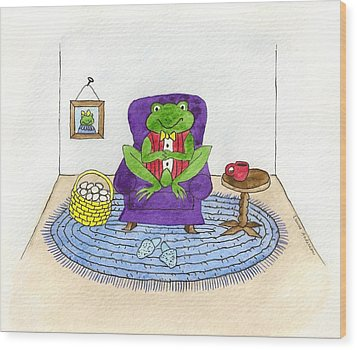Frog In Purple Chair Wood Print