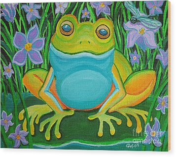 Frog On A Lily Pad Wood Print by Nick Gustafson