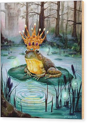 Frog Prince Wood Print by Heather Calderon