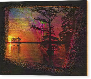 Froggy Morning Sunrise Wood Print