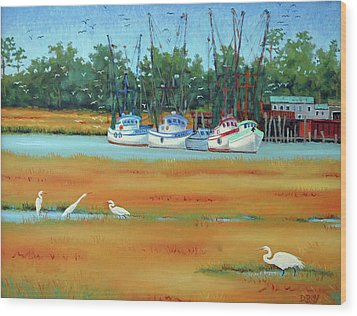 Wood Print featuring the painting Frogmore Boats by Dwain Ray