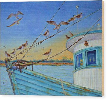 Wood Print featuring the painting Frogmore Shrimp Birds by Dwain Ray
