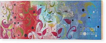 Wood Print featuring the painting Frolic by Robin Maria Pedrero