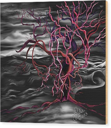 Wood Print featuring the painting From Out Of The Darkness by Yolanda Raker