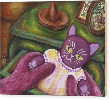 Wood Print featuring the painting From Purple Cat Illustration 20 by Hiroko Sakai