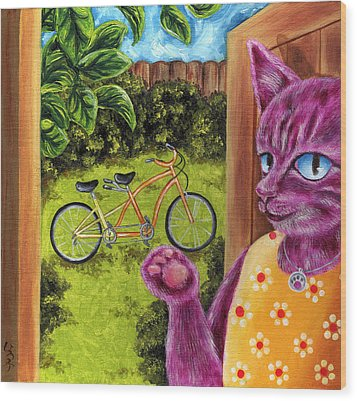 Wood Print featuring the painting From Purple Cat Illustration 22 by Hiroko Sakai