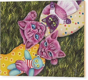 Wood Print featuring the painting From Purple Cat Illustration 23 by Hiroko Sakai