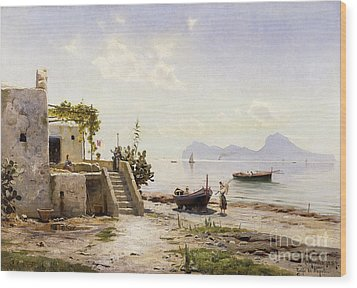 From Sorrento Towards Capri Wood Print by Peder Monsted
