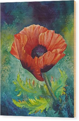 Wood Print featuring the painting From The Poppy Patch by Karen Mattson