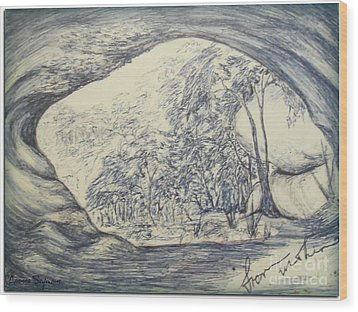 Wood Print featuring the drawing From Within by Leanne Seymour