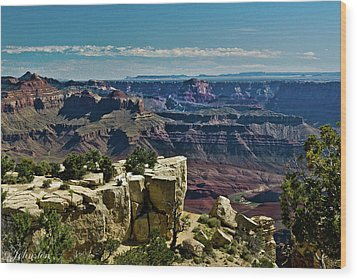 Wood Print featuring the photograph From Yaki Point 2 Grand Canyon by Bob and Nadine Johnston