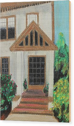 Wood Print featuring the painting Front Door 1 by Jeanne Fischer