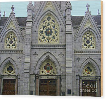 Wood Print featuring the photograph Front Of Church by Gena Weiser
