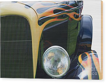 Wood Print featuring the photograph Front Of Hot Rod Car by Gunter Nezhoda