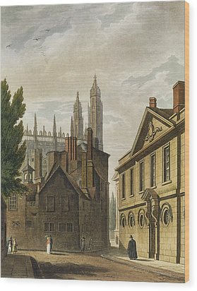 Front Of Trinity Hall, Cambridge Wood Print by Augustus Charles Pugin