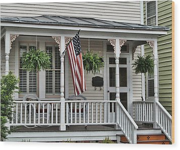 Front Porch Flag Wood Print by Victor Montgomery