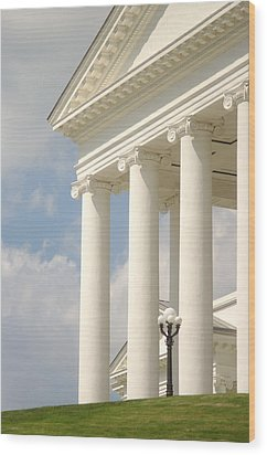 Wood Print featuring the photograph Front Porch Of Virginia State Capitol Richmond Va by Suzanne Powers
