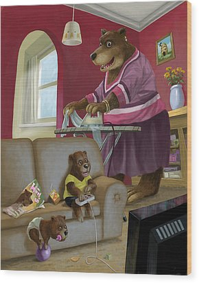 Front Room Bear Family Son Playing Computer Game Wood Print by Martin Davey