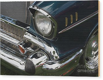 Wood Print featuring the photograph Front Side Of A Classic Car by Gunter Nezhoda