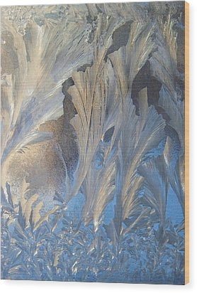 Frost On The Window Pane Wood Print by Joy Nichols