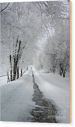 The Long Frosted Road Wood Print