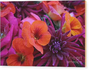 Wood Print featuring the photograph Dewy Blooms by Jeanette French